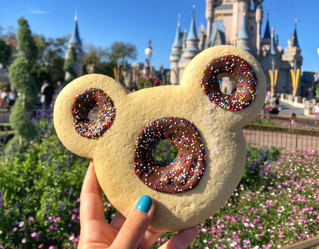 Mickey-shaped cookie at Magic Kingdom